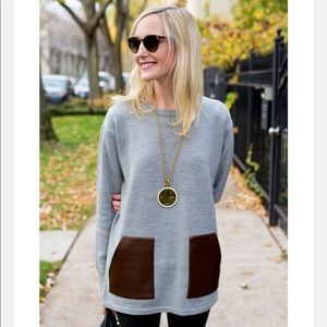 J. Crew Gray Faux Leather Pocket Sweater Tunic
